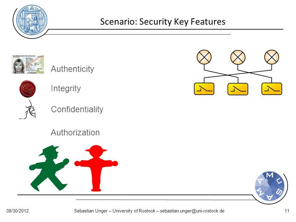 Scenario: Security Key Features Authenticity Integrity Confidentiality Authorization 08/30/2012Sebastian Unger – University of Rostock – sebastian.unger@uni-rostock.de11
