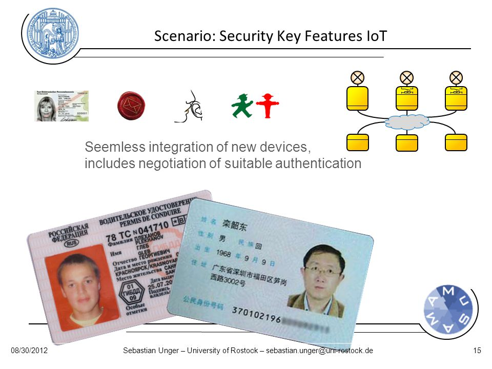 Scenario: Security Key Features IoT Seemless integration of new devices, includes negotiation of suitable authentication 08/30/2012Sebastian Unger – University of Rostock – sebastian.unger@uni-rostock.de15