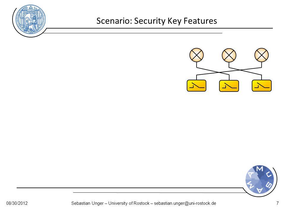 Scenario: Security Key Features 08/30/2012Sebastian Unger – University of Rostock – sebastian.unger@uni-rostock.de7