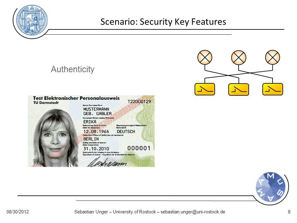 Scenario: Security Key Features Authenticity 08/30/2012Sebastian Unger – University of Rostock – sebastian.unger@uni-rostock.de8