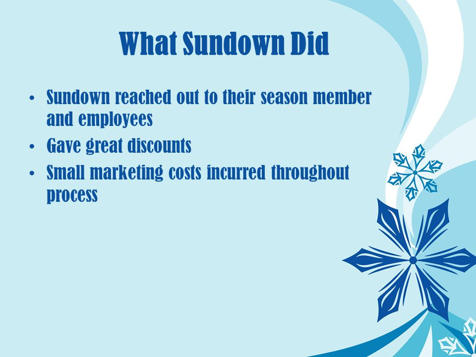 What Sundown Did Sundown reached out to their season member and employees Gave great discounts Small marketing costs incurred throughout process
