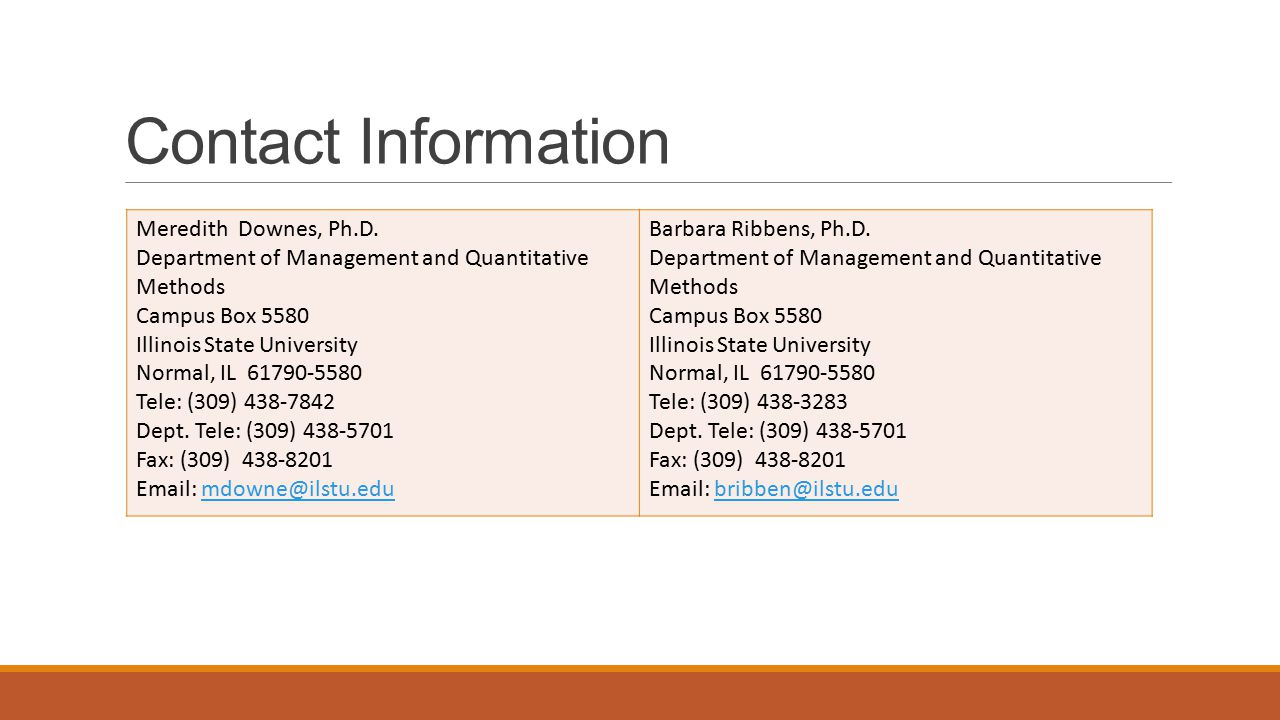 Contact Information Meredith Downes, Ph.D.