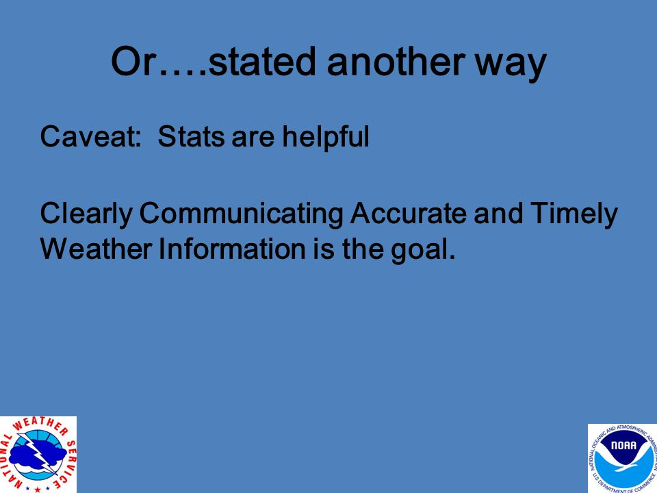 Or….stated another way Caveat: Stats are helpful Clearly Communicating Accurate and Timely Weather Information is the goal.