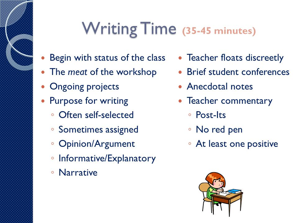 Back to Whole Group Back to Whole Group (10-15 minutes) Sharing time ◦ Author's chair ◦ Partner share ◦ Question & Answer ◦ Student creates schedule for next writing workshop ◦ Jots down questions for teacher (conference time) Wrap-up ◦ Ticket out the door ◦ Mini-lesson review ◦ Thoughts to ponder at home