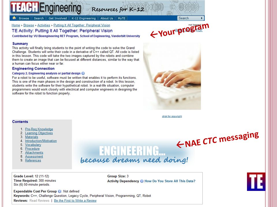  NAE CTC messaging  Your program