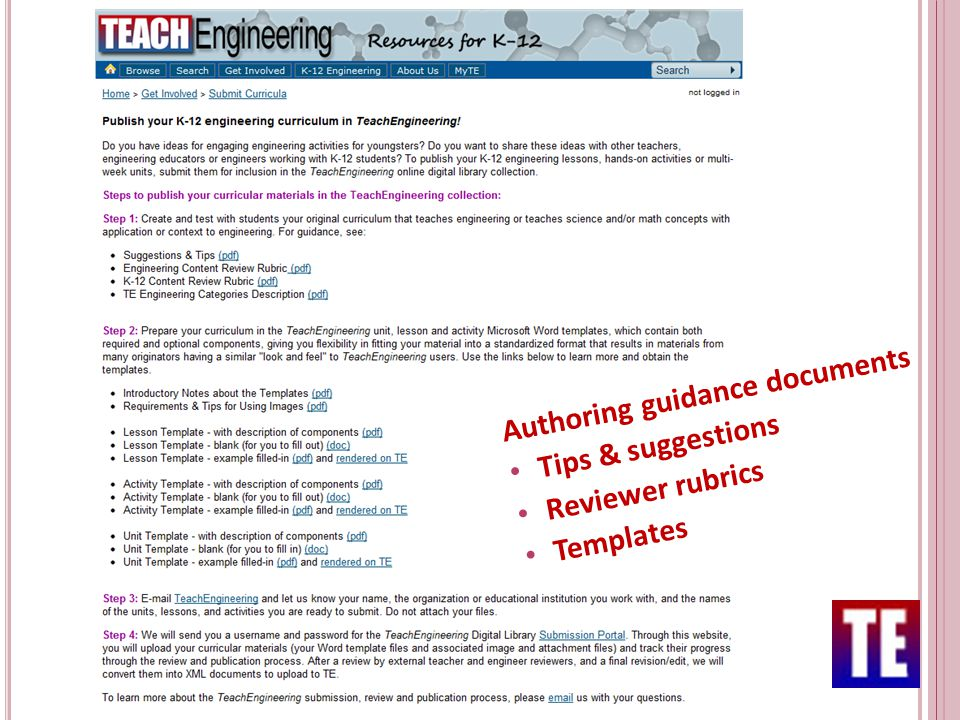 Authoring guidance documents Tips & suggestions Reviewer rubrics Templates