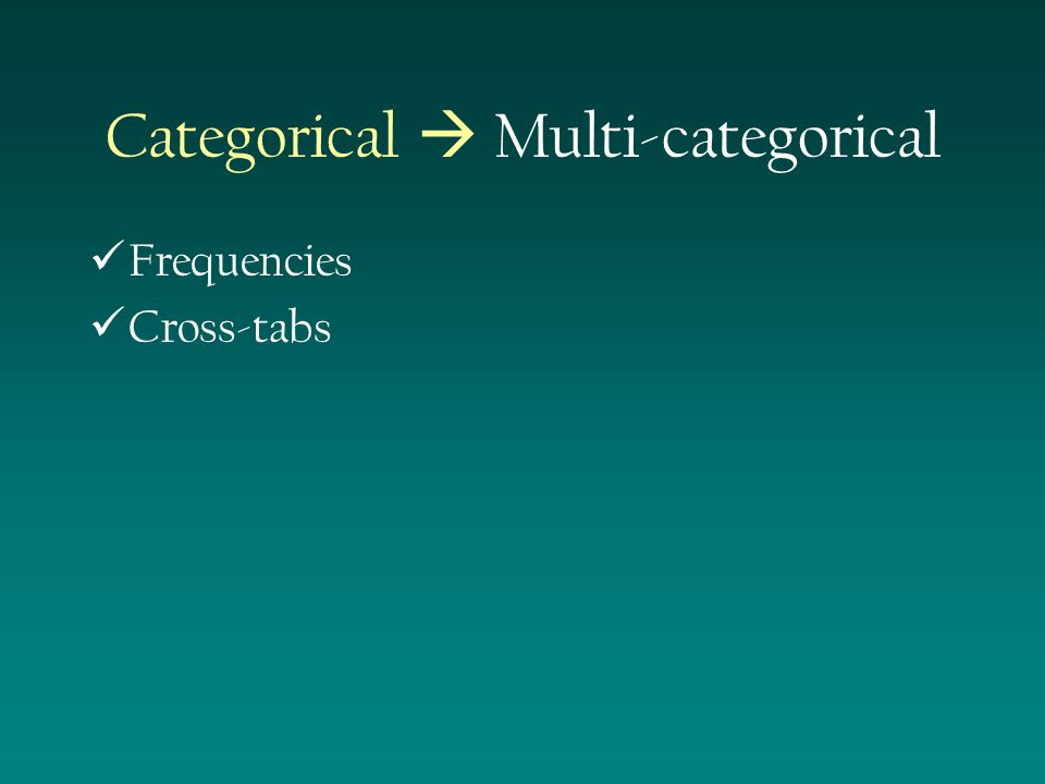 Frequencies Cross-tabs Categorical  Multi-categorical