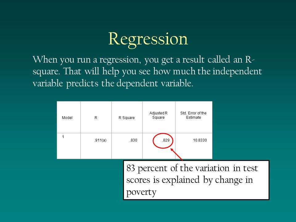Regression Then use that information to adjust the data or to see if entities are doing better or worse than they should.