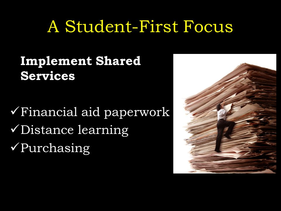 A Student-First Focus Implement Shared Services Financial aid paperwork Distance learning Purchasing