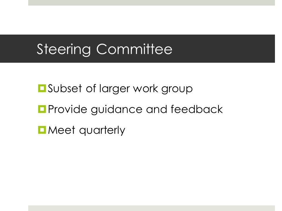 Steering Committee  Subset of larger work group  Provide guidance and feedback  Meet quarterly