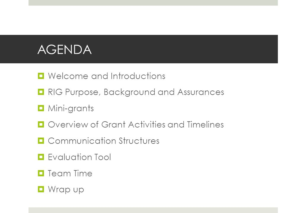 AGENDA  Welcome and Introductions  RIG Purpose, Background and Assurances  Mini-grants  Overview of Grant Activities and Timelines  Communication