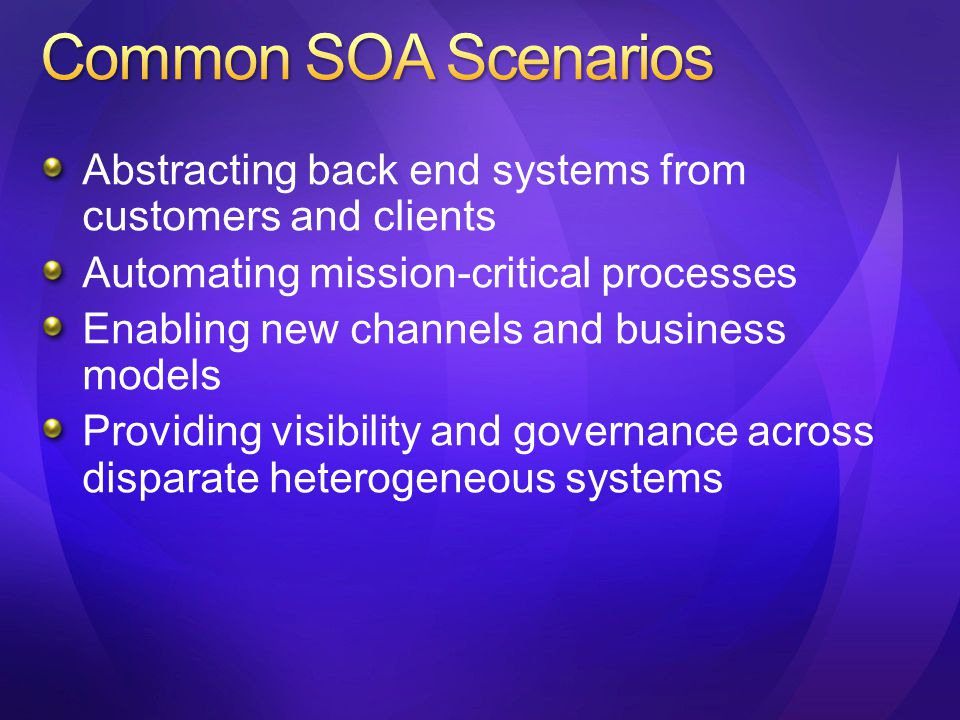 Abstracting back end systems from customers and clients Automating mission-critical processes Enabling new channels and business models Providing visibility and governance across disparate heterogeneous systems
