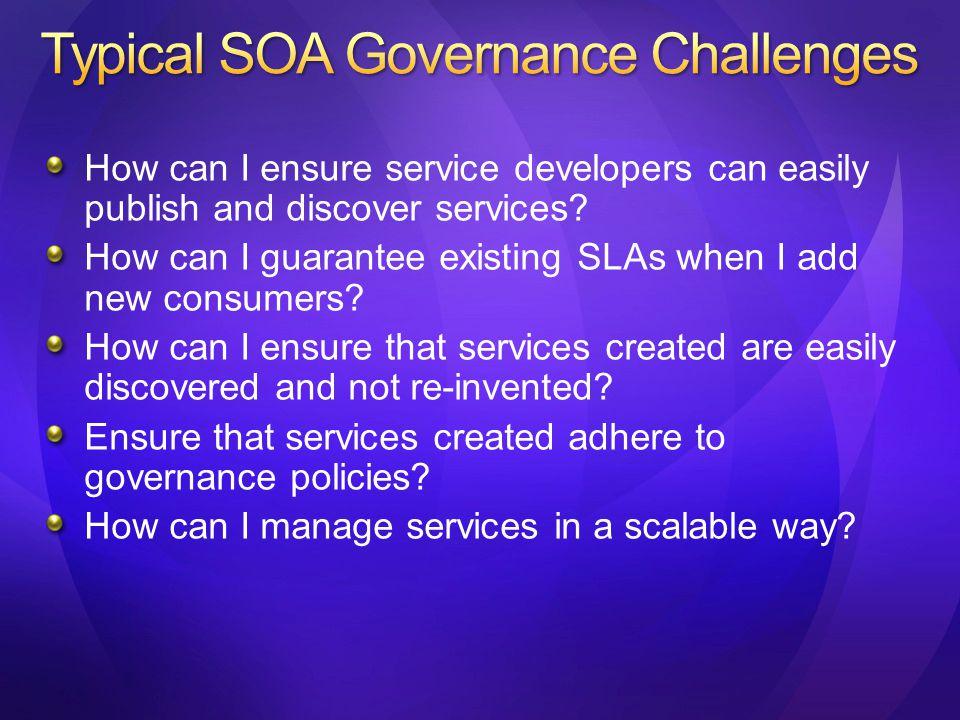 Microsoft SOA platform also interoperates with Service Registry/Repository vendors such as HP Systinet SOA Software Visual Studio Registries / Repositories
