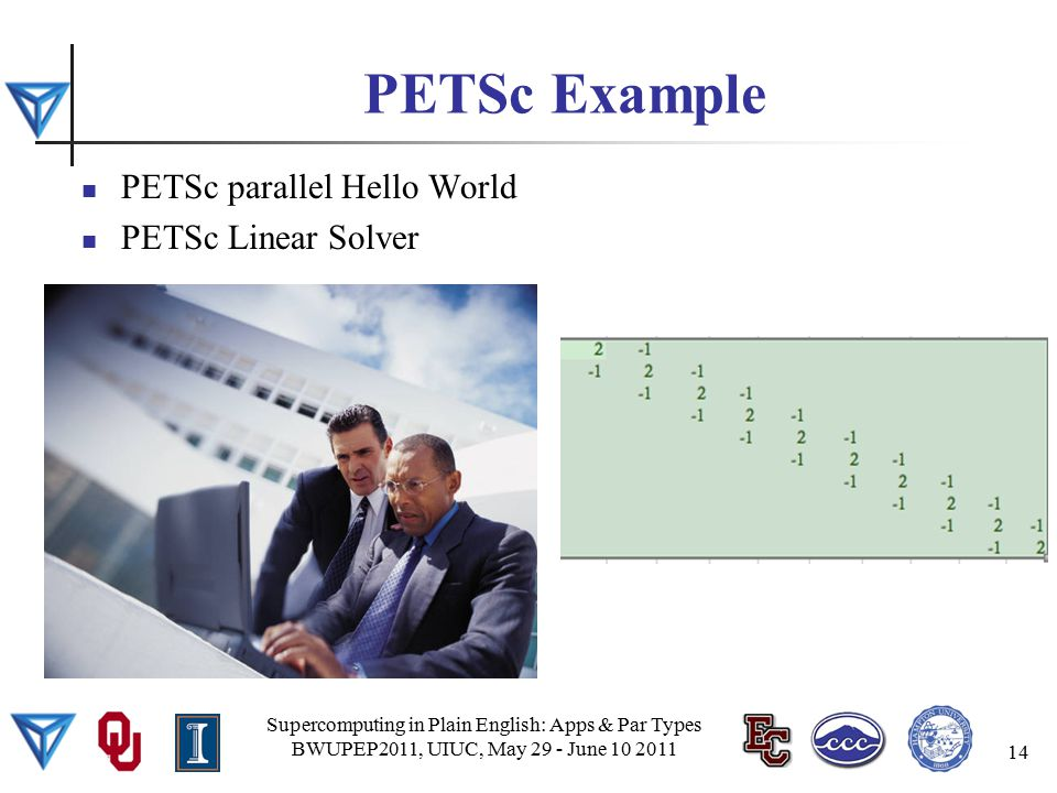 PETSc Example PETSc parallel Hello World PETSc Linear Solver Supercomputing in Plain English: Apps & Par Types BWUPEP2011, UIUC, May 29 - June 10 2011 14
