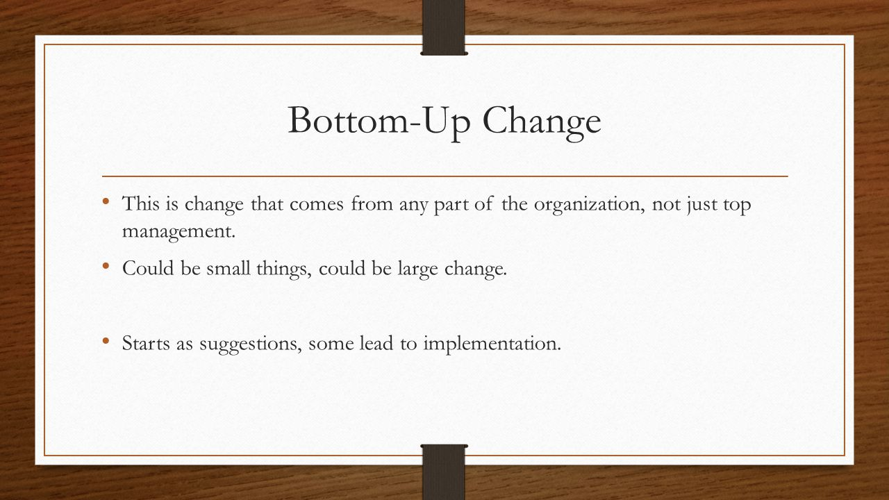 This is change that comes from any part of the organization, not just top management.