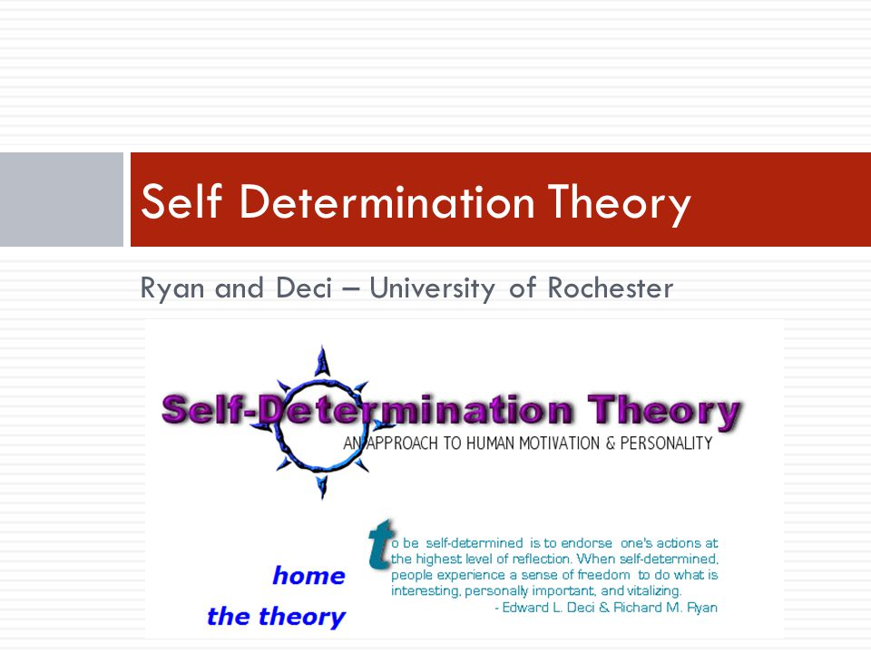 Ryan and Deci – University of Rochester Self Determination Theory
