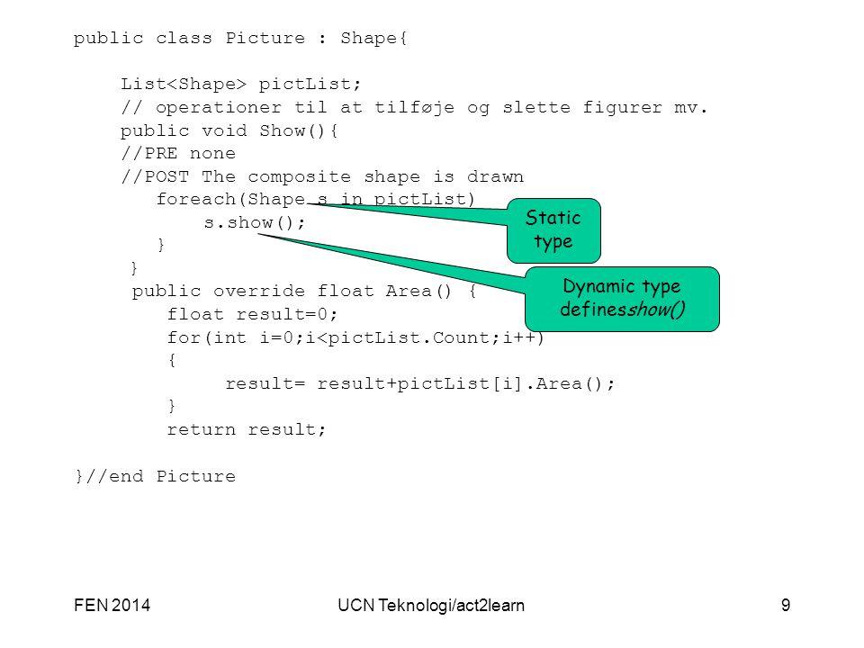 UCN Teknologi/act2learn9 public class Picture : Shape{ List pictList; // operationer til at tilføje og slette figurer mv. public void Show(){ //PRE no