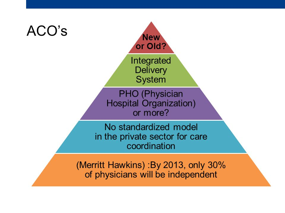 ACO's New or Old. Integrated Delivery System PHO (Physician Hospital Organization) or more.