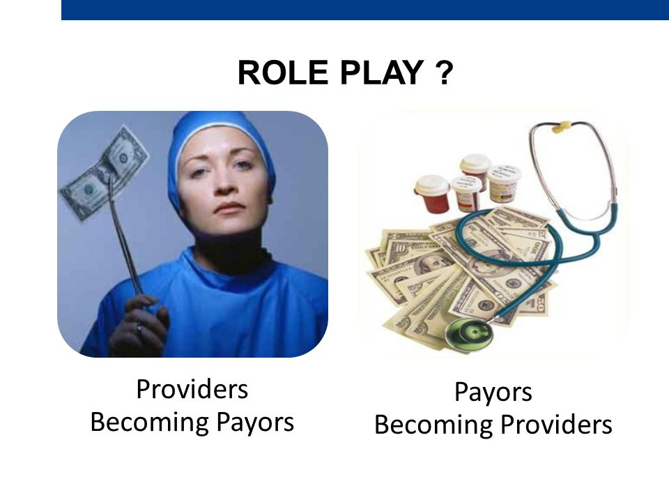 ROLE PLAY Providers Becoming Payors Payors Becoming Providers