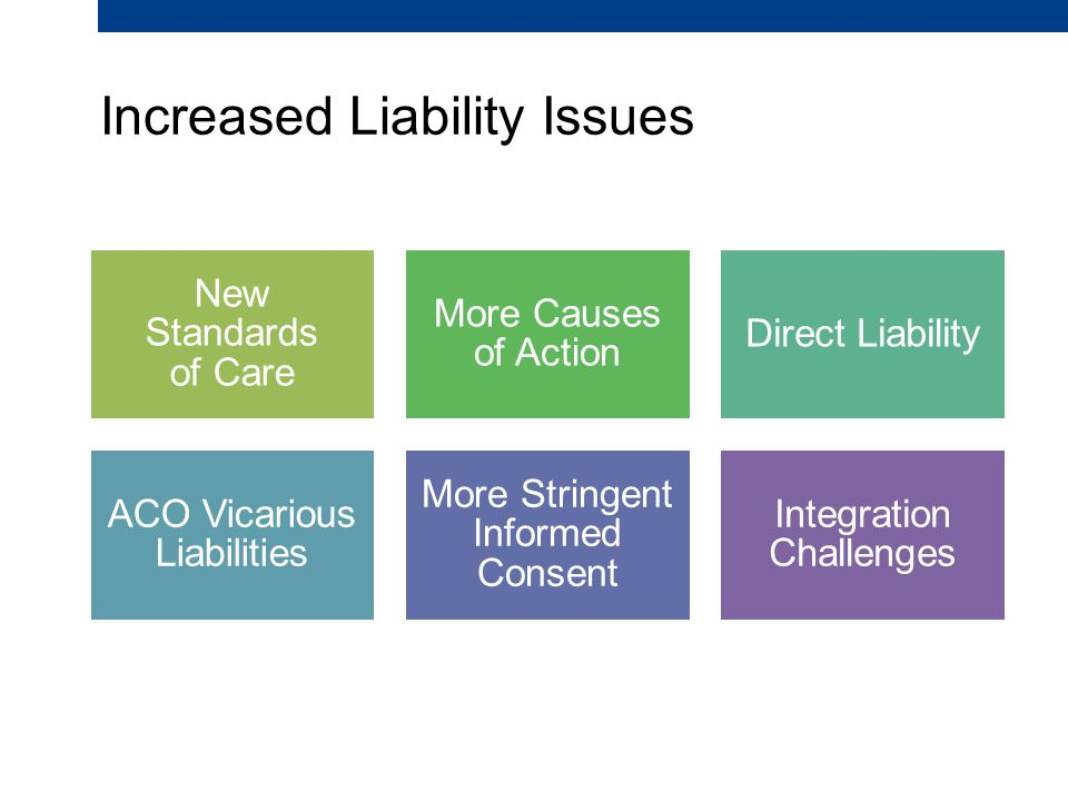 Increased Liability Issues New Standards of Care More Causes of Action Direct Liability ACO Vicarious Liabilities More Stringent Informed Consent Integration Challenges