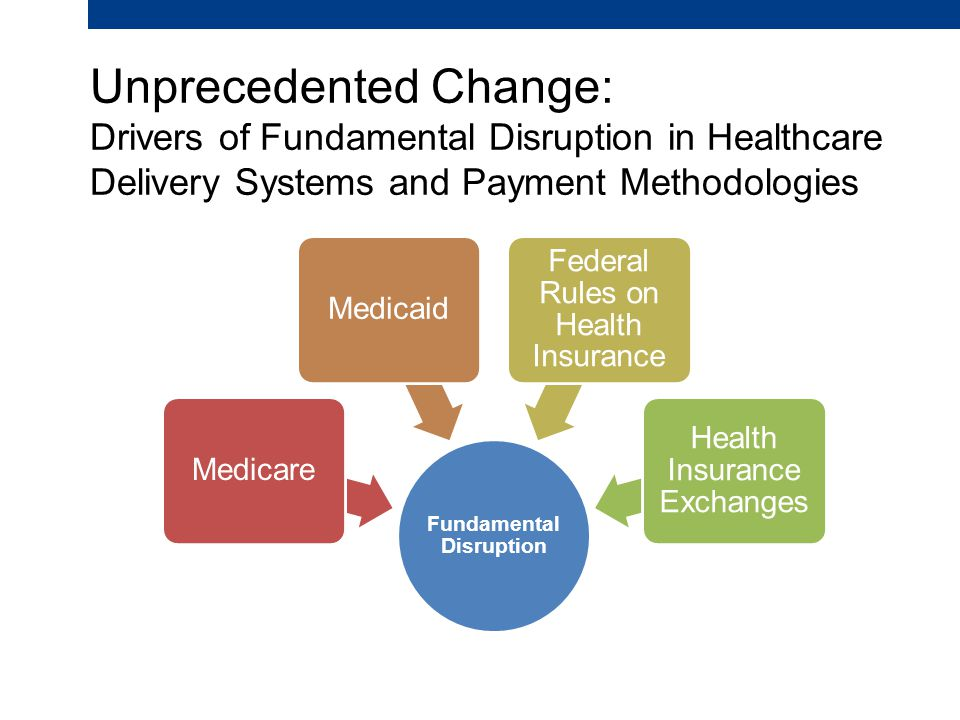 Unprecedented Change: Drivers of Fundamental Disruption in Healthcare Delivery Systems and Payment Methodologies Fundamental Disruption MedicareMedicaid Federal Rules on Health Insurance Health Insurance Exchanges