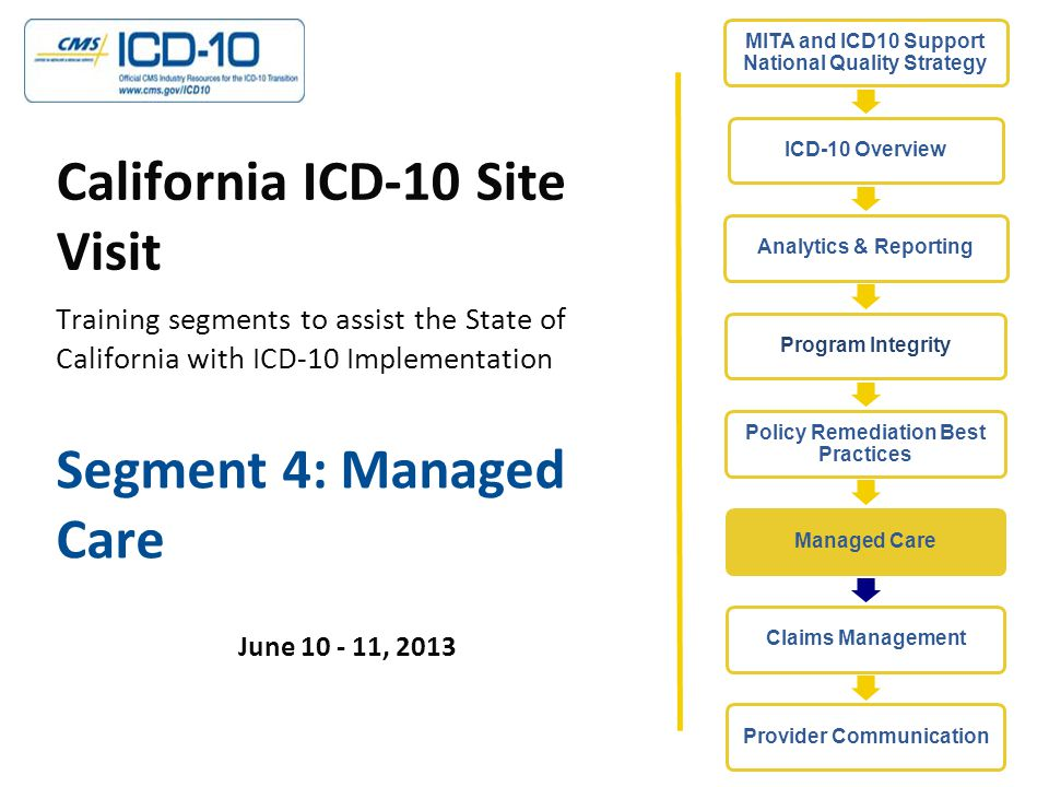 Segment 4: Managed Care June 10 - 11, 2013 California ICD-10 Site Visit Training segments to assist the State of California with ICD-10 Implementation