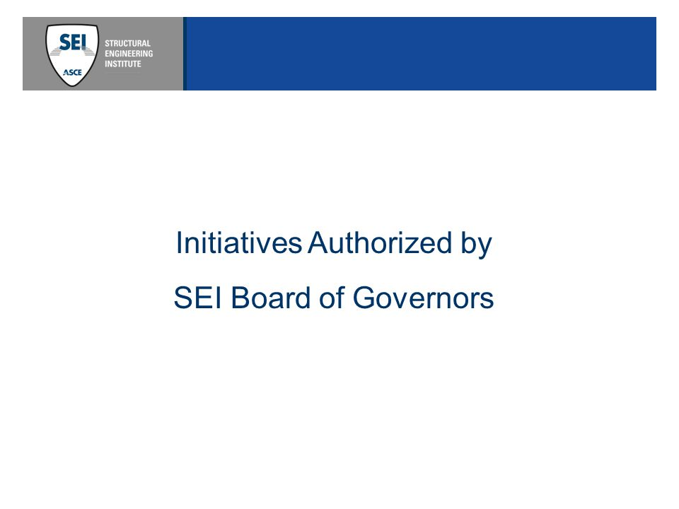 Initiatives Authorized by SEI Board of Governors