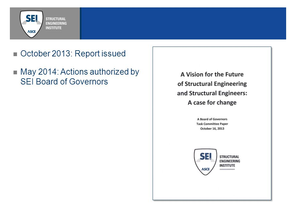 May 2014: Actions authorized by SEI Board of Governors