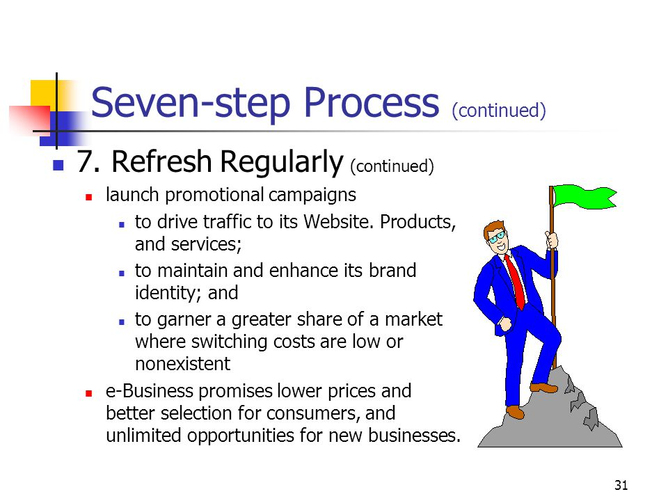 30 Seven-step Process (continued) 7. Refresh Regularly to be viable, a company must continually review, reexamine, and revise its vision, strategies,