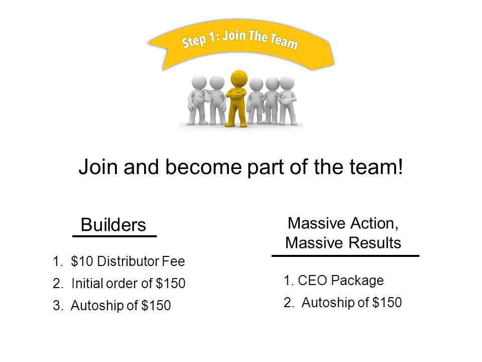 Join and become part of the team. Builders Massive Action, Massive Results 1.