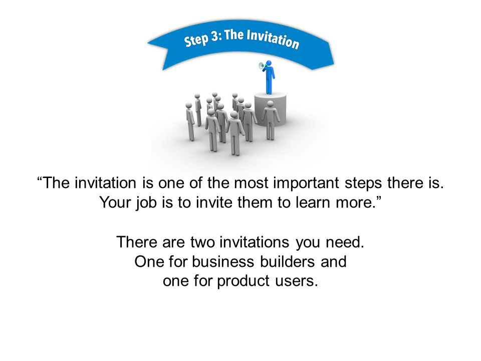 The invitation is one of the most important steps there is.
