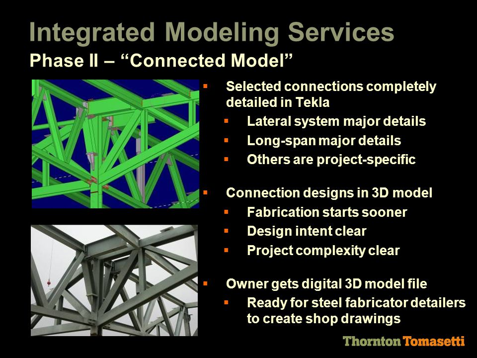 Integrated Modeling Services  Selected connections completely detailed in Tekla  Lateral system major details  Long-span major details  Others are project-specific  Connection designs in 3D model  Fabrication starts sooner  Design intent clear  Project complexity clear  Owner gets digital 3D model file  Ready for steel fabricator detailers to create shop drawings Phase II – Connected Model