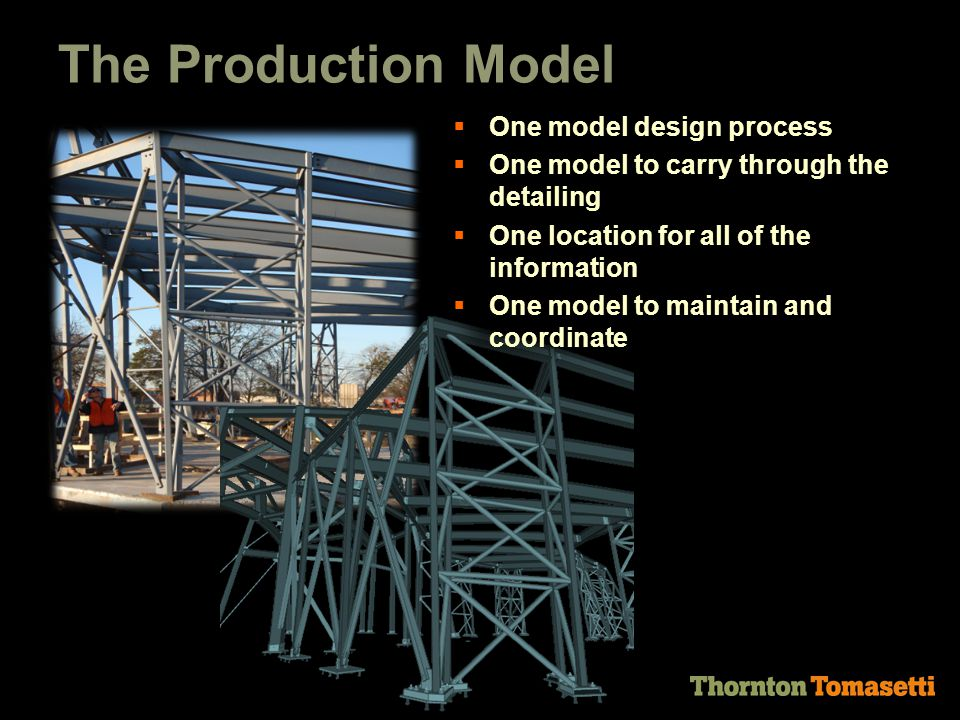 The Production Model  One model design process  One model to carry through the detailing  One location for all of the information  One model to maintain and coordinate