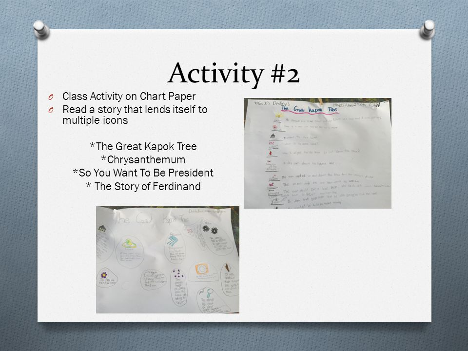 Activity #2 O Class Activity on Chart Paper O Read a story that lends itself to multiple icons *The Great Kapok Tree *Chrysanthemum *So You Want To Be President * The Story of Ferdinand
