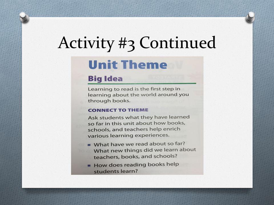 Activity #3 Continued