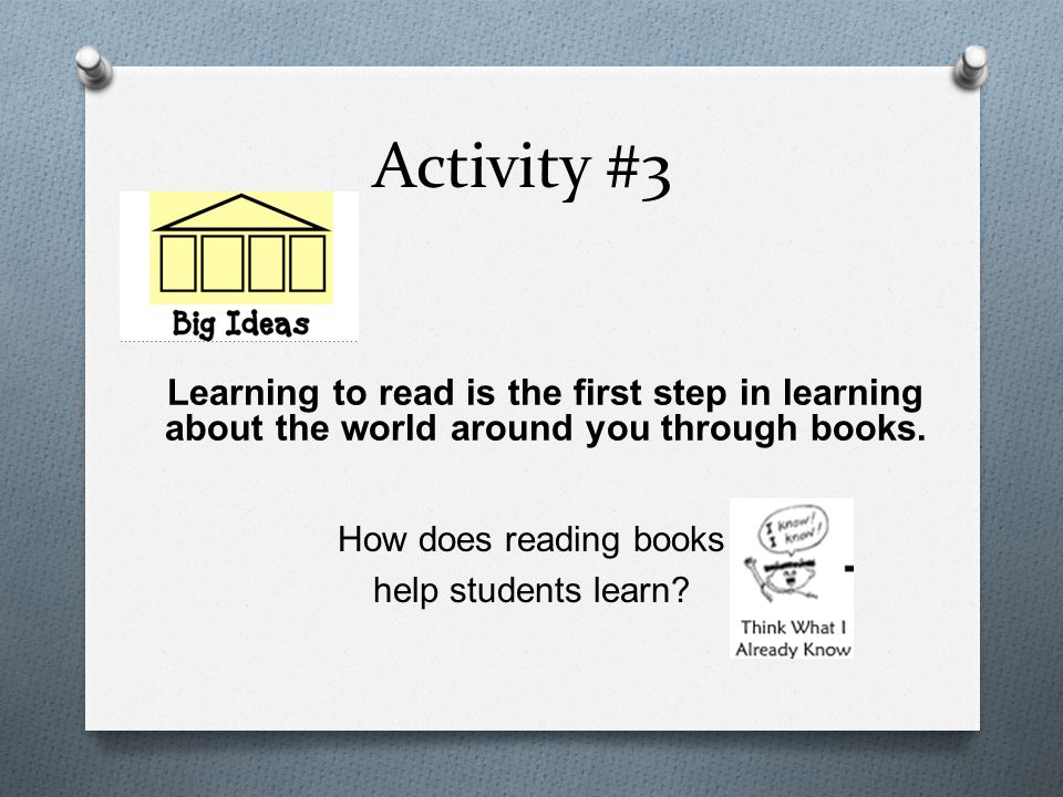 Activity #3 Learning to read is the first step in learning about the world around you through books.