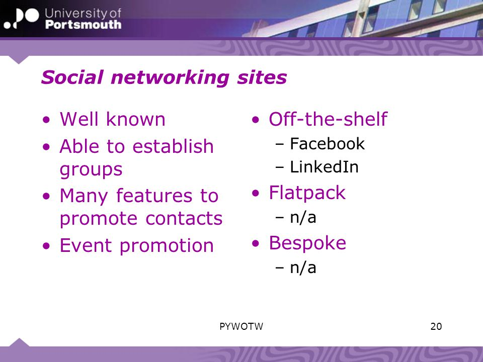 Social networking sites Well known Able to establish groups Many features to promote contacts Event promotion Off-the-shelf –Facebook –LinkedIn Flatpack –n/a Bespoke –n/a 20PYWOTW