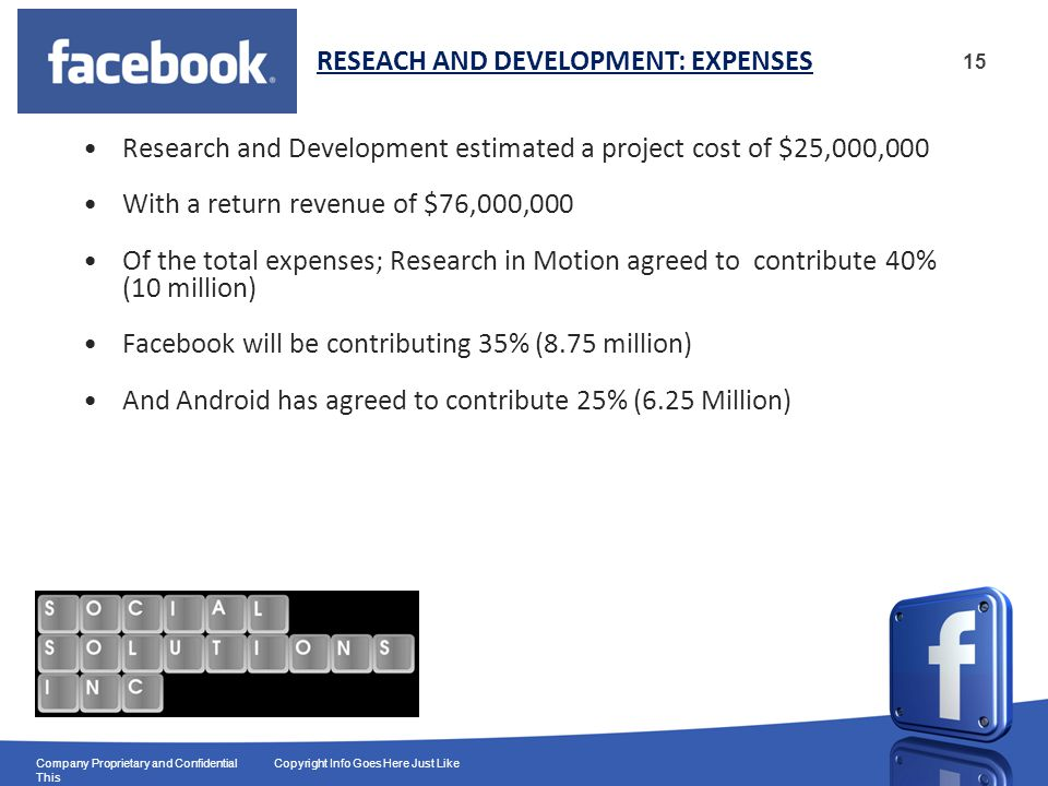 15 Company Proprietary and Confidential Copyright Info Goes Here Just Like This Research and Development estimated a project cost of $25,000,000 With a return revenue of $76,000,000 Of the total expenses; Research in Motion agreed to contribute 40% (10 million) Facebook will be contributing 35% (8.75 million) And Android has agreed to contribute 25% (6.25 Million) RESEACH AND DEVELOPMENT: EXPENSES