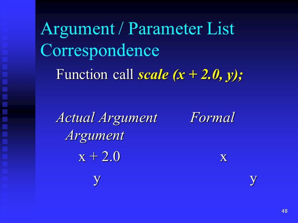 48 Argument / Parameter List Correspondence Function call scale (x + 2.0, y); Actual ArgumentFormal Argument x + 2.0x x + 2.0x y y y y