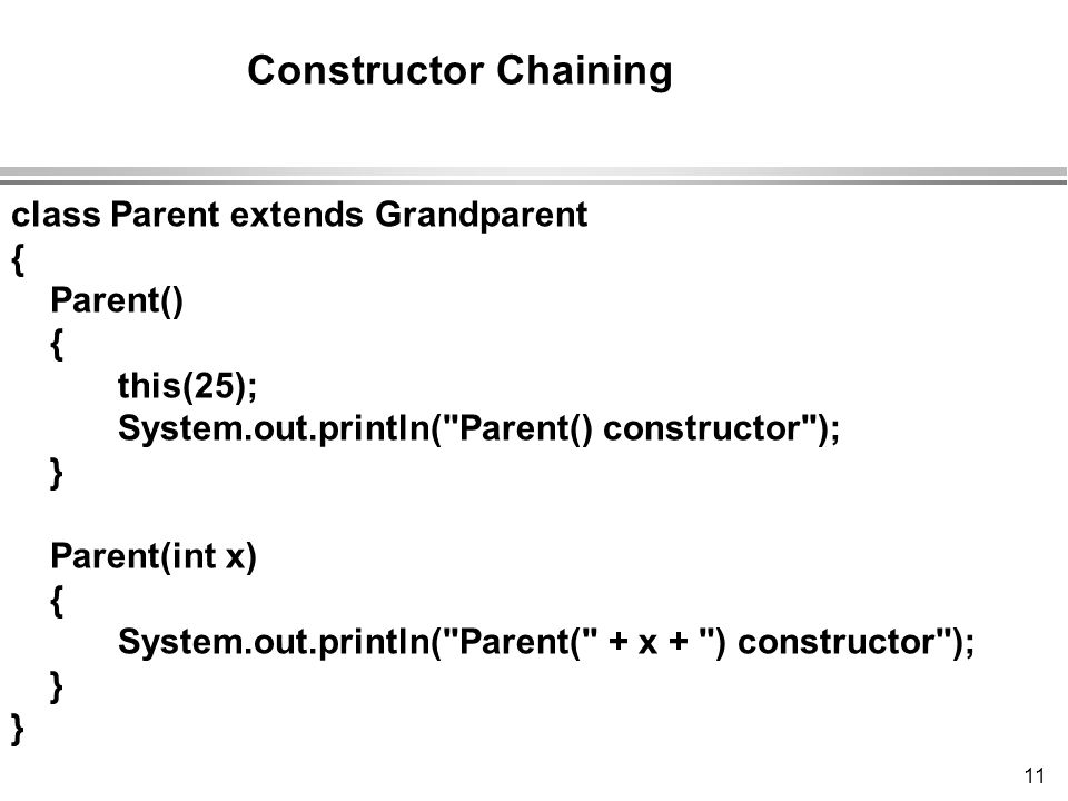 11 class Parent extends Grandparent { Parent() { this(25); System.out.println( Parent() constructor ); } Parent(int x) { System.out.println( Parent( + x + ) constructor ); } Constructor Chaining