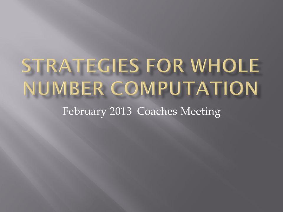 February 2013 Coaches Meeting