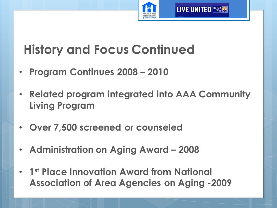 History and Focus Continued Program Continues 2008 – 2010 Related program integrated into AAA Community Living Program Over 7,500 screened or counseled Administration on Aging Award – 2008 1 st Place Innovation Award from National Association of Area Agencies on Aging -2009