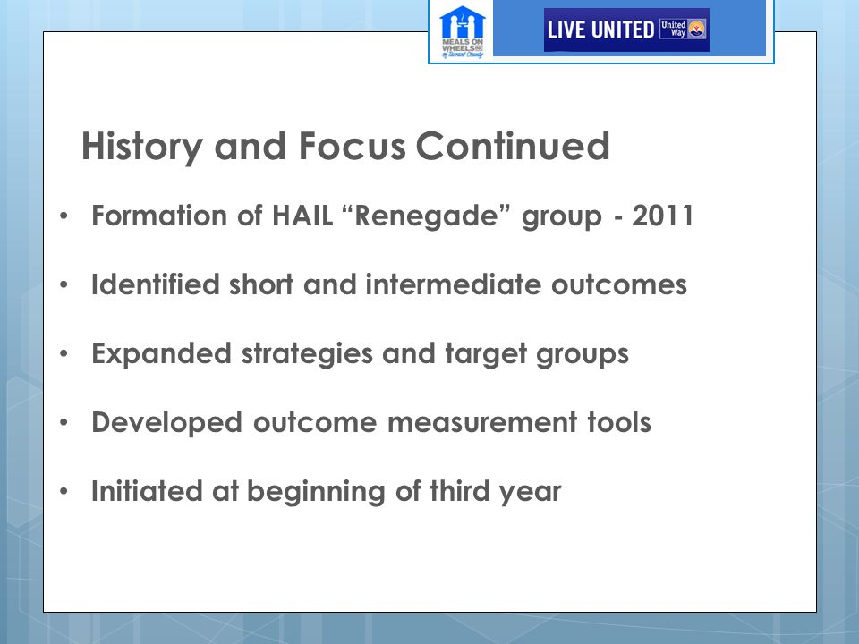 """History and Focus Continued Formation of HAIL """"Renegade"""" group - 2011 Identified short and intermediate outcomes Expanded strategies and target groups"""