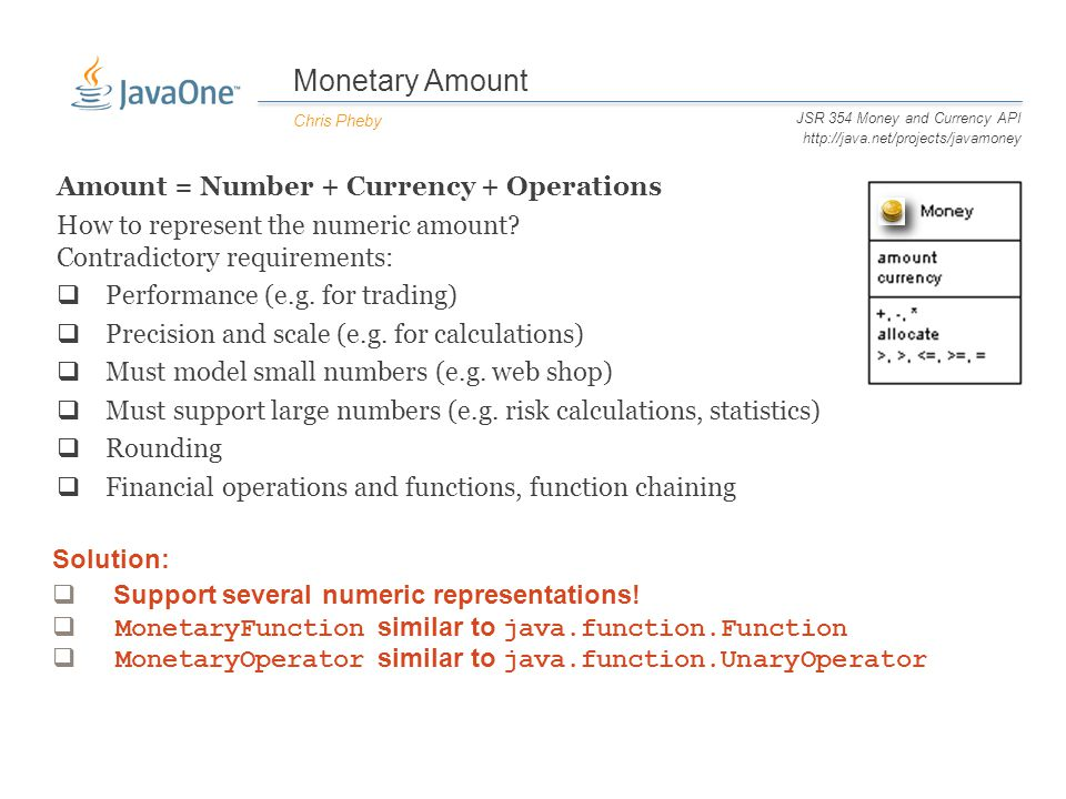 Monetary Amount Chris Pheby JSR 354 Money and Currency API http://java.net/projects/javamoney Amount = Number + Currency + Operations How to represent the numeric amount.