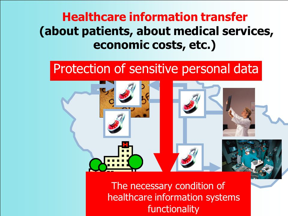 Protection of sensitive personal data The necessary condition of healthcare information systems functionality Healthcare information transfer (about patients, about medical services, economic costs, etc.)