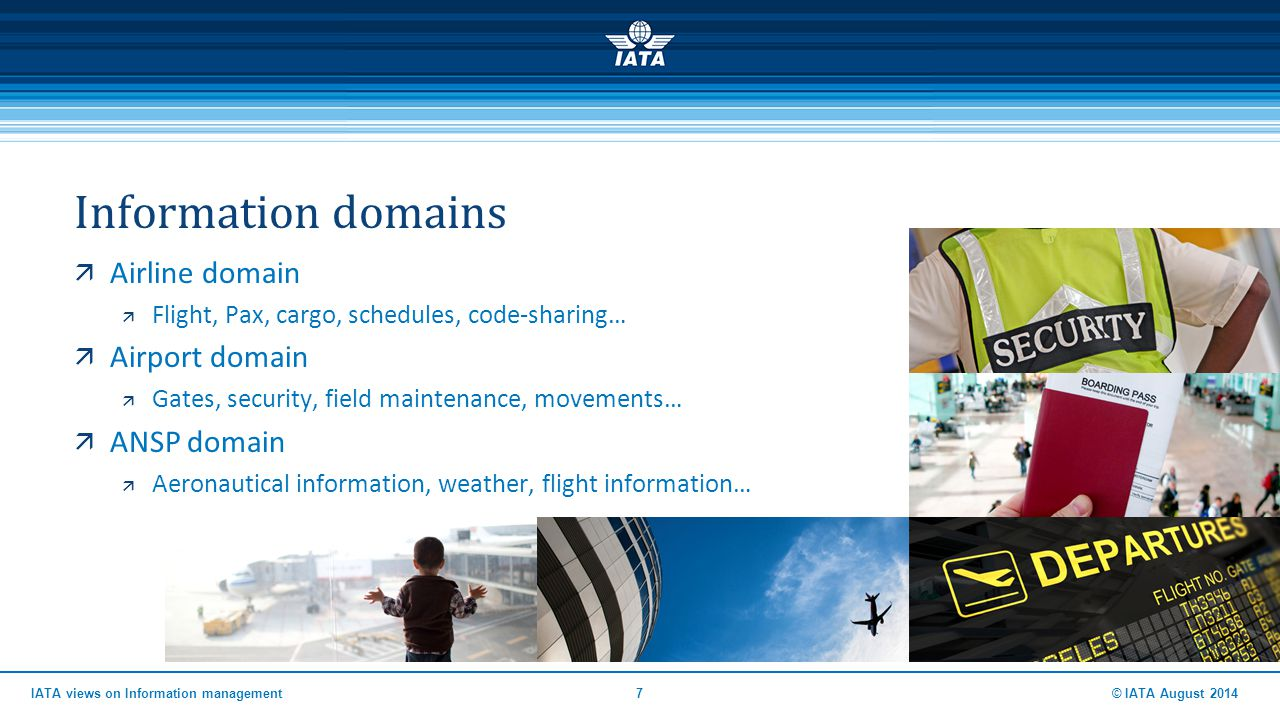 Information domains  Airline domain  Flight, Pax, cargo, schedules, code-sharing…  Airport domain  Gates, security, field maintenance, movements…
