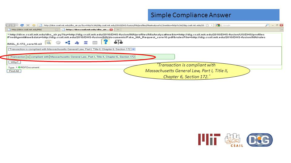 Simple Compliance Answer Transaction is compliant with Massachusetts General Law, Part I, Title II, Chapter 6, Section 172.