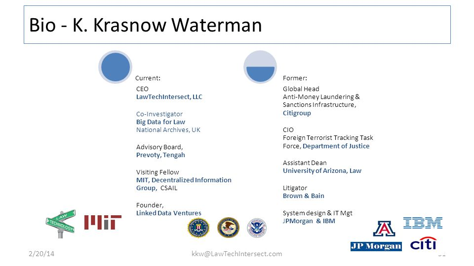 31 CEO LawTechIntersect, LLC Co-Investigator Big Data for Law National Archives, UK Advisory Board, Prevoty, Tengah Visiting Fellow MIT, Decentralized Information Group, CSAIL Founder, Linked Data Ventures Current: Global Head Anti-Money Laundering & Sanctions Infrastructure, Citigroup CIO Foreign Terrorist Tracking Task Force, Department of Justice Assistant Dean University of Arizona, Law Litigator Brown & Bain System design & IT Mgt JPMorgan & IBM Former: Bio - K.
