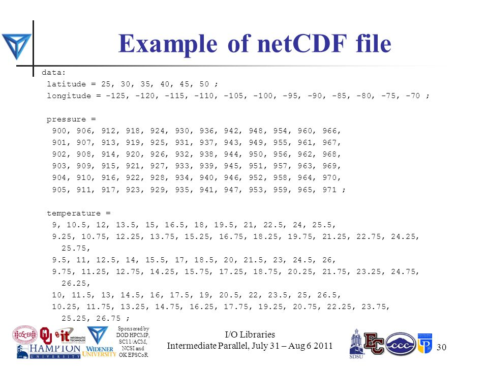 Sponsored by DOD HPCMP, SC11/ACM, NCSI and OK EPSCoR 30 Example of netCDF file data: latitude = 25, 30, 35, 40, 45, 50 ; longitude = -125, -120, -115, -110, -105, -100, -95, -90, -85, -80, -75, -70 ; pressure = 900, 906, 912, 918, 924, 930, 936, 942, 948, 954, 960, 966, 901, 907, 913, 919, 925, 931, 937, 943, 949, 955, 961, 967, 902, 908, 914, 920, 926, 932, 938, 944, 950, 956, 962, 968, 903, 909, 915, 921, 927, 933, 939, 945, 951, 957, 963, 969, 904, 910, 916, 922, 928, 934, 940, 946, 952, 958, 964, 970, 905, 911, 917, 923, 929, 935, 941, 947, 953, 959, 965, 971 ; temperature = 9, 10.5, 12, 13.5, 15, 16.5, 18, 19.5, 21, 22.5, 24, 25.5, 9.25, 10.75, 12.25, 13.75, 15.25, 16.75, 18.25, 19.75, 21.25, 22.75, 24.25, 25.75, 9.5, 11, 12.5, 14, 15.5, 17, 18.5, 20, 21.5, 23, 24.5, 26, 9.75, 11.25, 12.75, 14.25, 15.75, 17.25, 18.75, 20.25, 21.75, 23.25, 24.75, 26.25, 10, 11.5, 13, 14.5, 16, 17.5, 19, 20.5, 22, 23.5, 25, 26.5, 10.25, 11.75, 13.25, 14.75, 16.25, 17.75, 19.25, 20.75, 22.25, 23.75, 25.25, 26.75 ; } I/O Libraries Intermediate Parallel, July 31 – Aug 6 2011