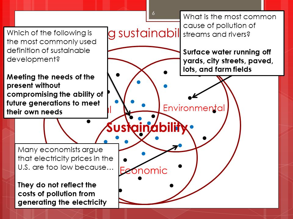 Conceptualizing sustainability knowledge Social Economic Environmental Sustainability 6 Which of the following is the most commonly used definition of sustainable development.